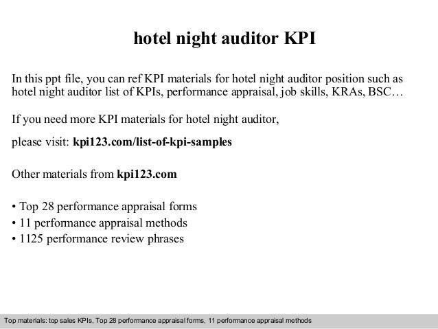 Hotel night auditor kpi