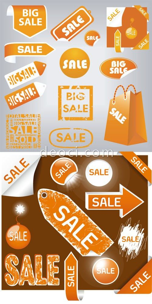 Free vector orange yellow big sale label design templates ...