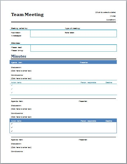 Professional Meeting Minutes Template | Document Templates