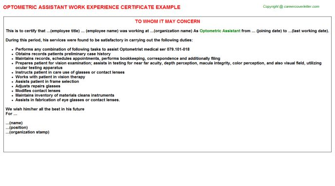 Optometric Assistant Work Experience Certificate