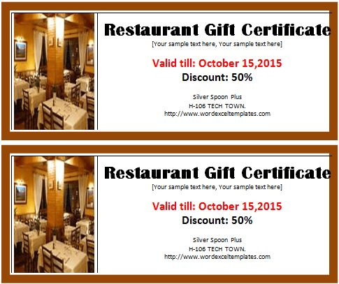 Restaurant Gift Certificate Template | Word & Excel Templates