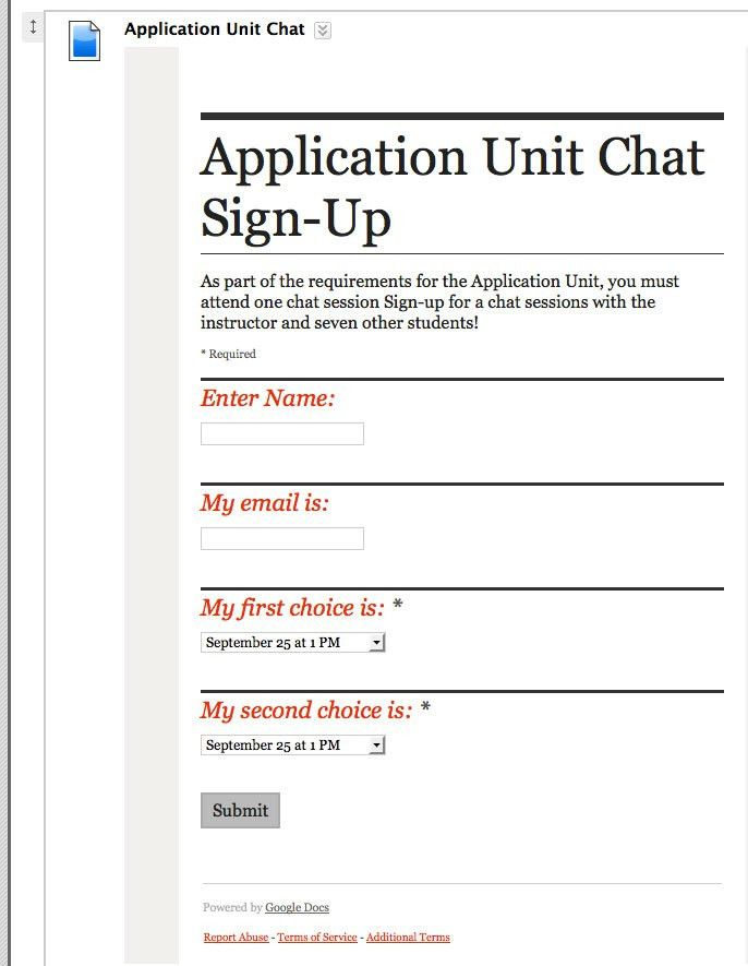 Sign-Up Sheet using Google forms |