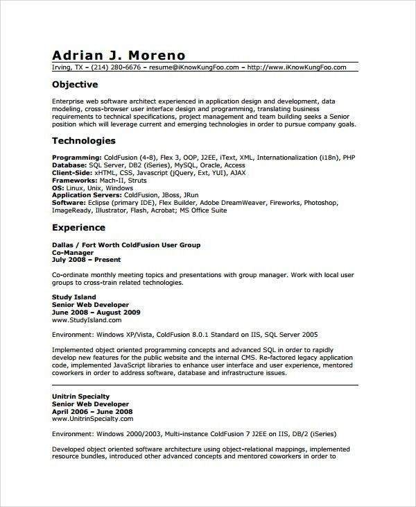 Sample Web Developer Resume - 7+ Free Documents Download in Word, PDF