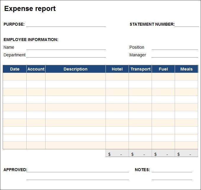 Expense Report Template. Free Expense Report Template 8+ Expense ...