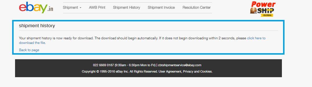 Shipment History   eBay PowerShip Global
