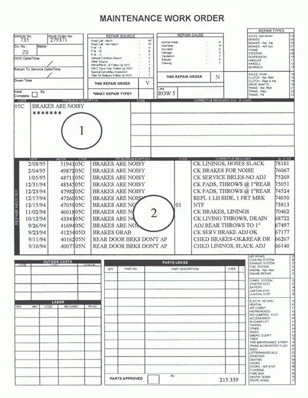 Maintenance Work Order Form Template | Car Maintenance Tips ...