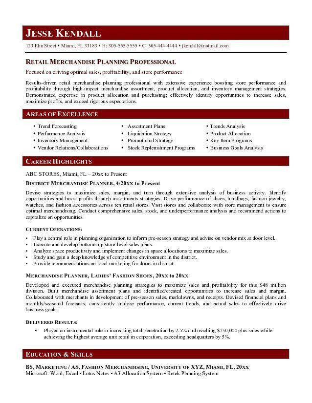 Free Merchandise Planner Resume Example