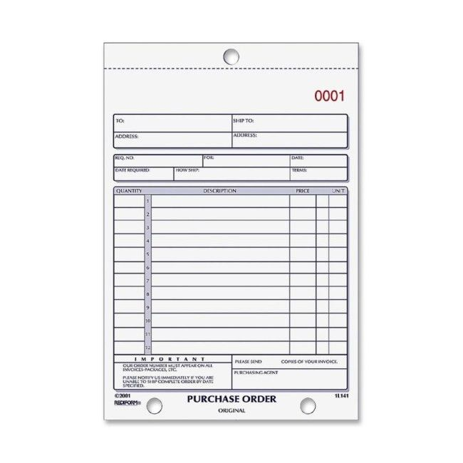 Rediform 1L140 2-part Carbonless Purchase Order Book 50 Sheet(s ...