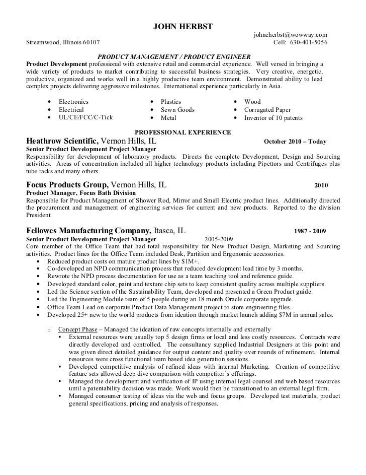 Printable Expertise featuring Executive for Product Manager Resume ...