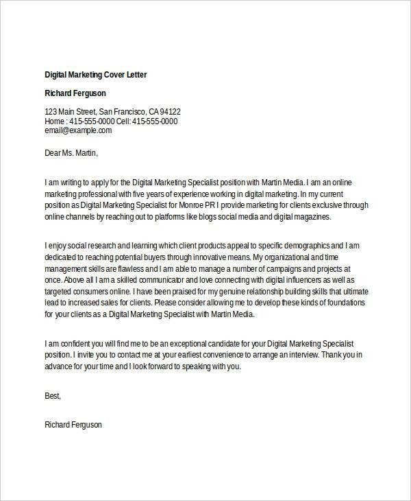 sample marketing cover letter for marketing cover letter examples ...
