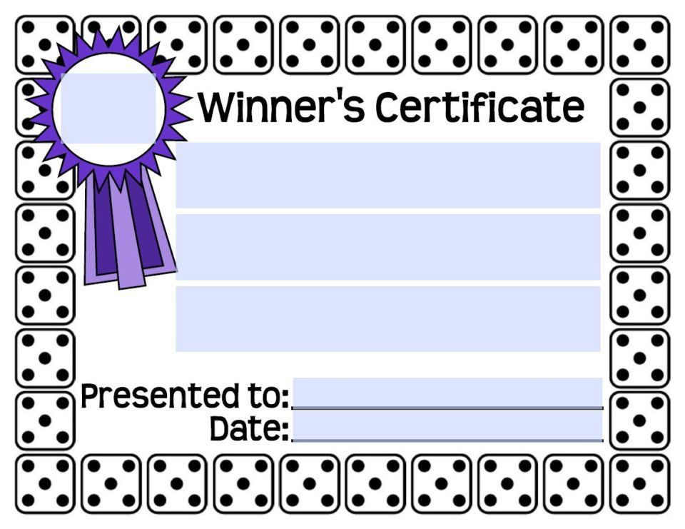 Bunco Winners Certificate - Bunco Printables