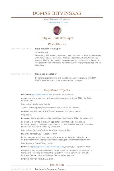 Ruby On Rails Developer Resume samples - VisualCV resume samples ...