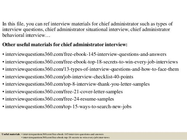 Top 10 chief administrator interview questions and answers