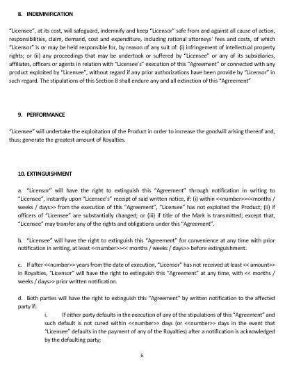 NE0227 TRADEMARK LICENSE AGREEMENT TEMPLATE – ENGLISH – Namozaj