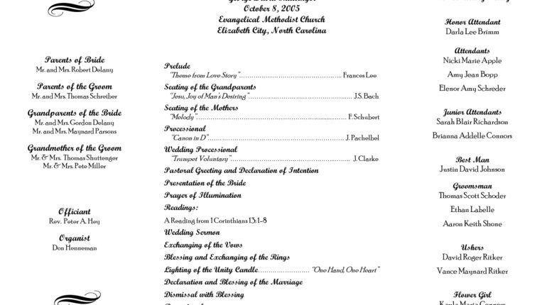 Wedding Ceremony Program Template Wedding Ceremony Program