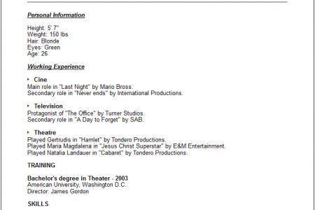 Acting resume beginner within acting resume sample beginner resume ...