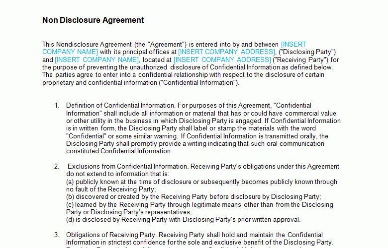 Non Disclosure Agreement (NDA): Standard Template - Bizorb