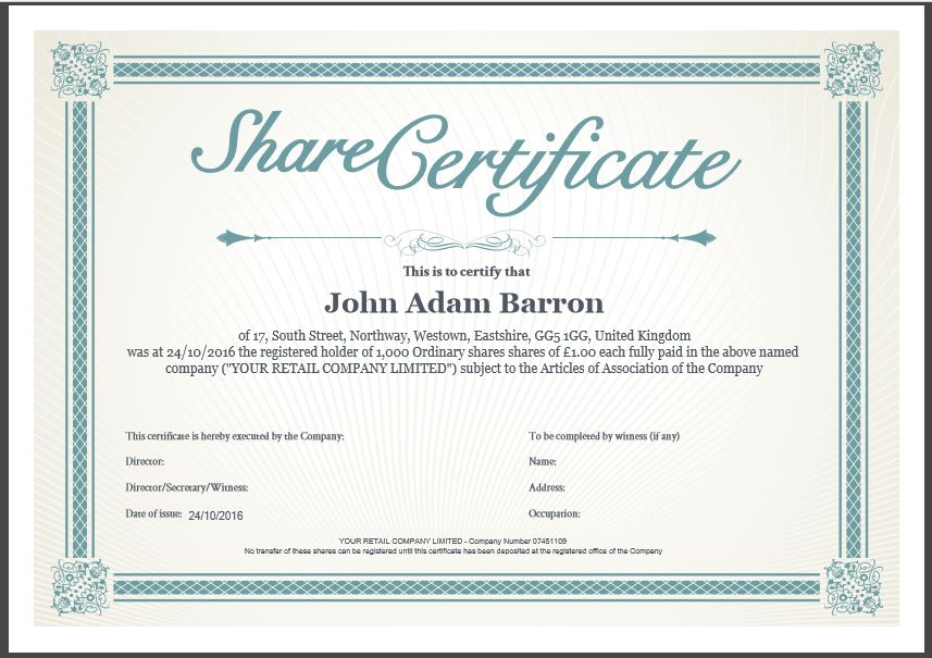 company stock certificate template