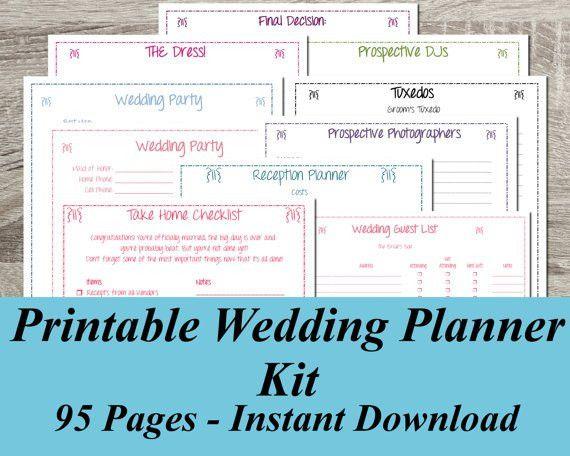 Printable Wedding Planner INSTANT DOWNLOAD Ultimate Wedding
