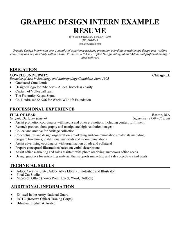 Student Internship Resume Sample | Free Resumes Tips