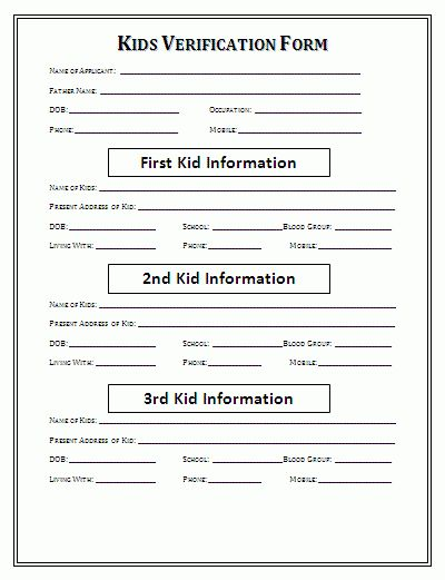 Kids Blank Verification form | A to Z Free Printable Sample Forms