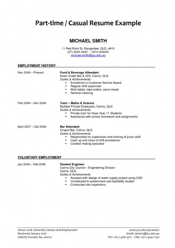 resume for part time job basic resume examples for part time jobs