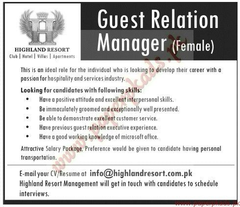 Guest Relation Manager Jobs - Jang Jobs ads 23 November 2014 - PaperPk