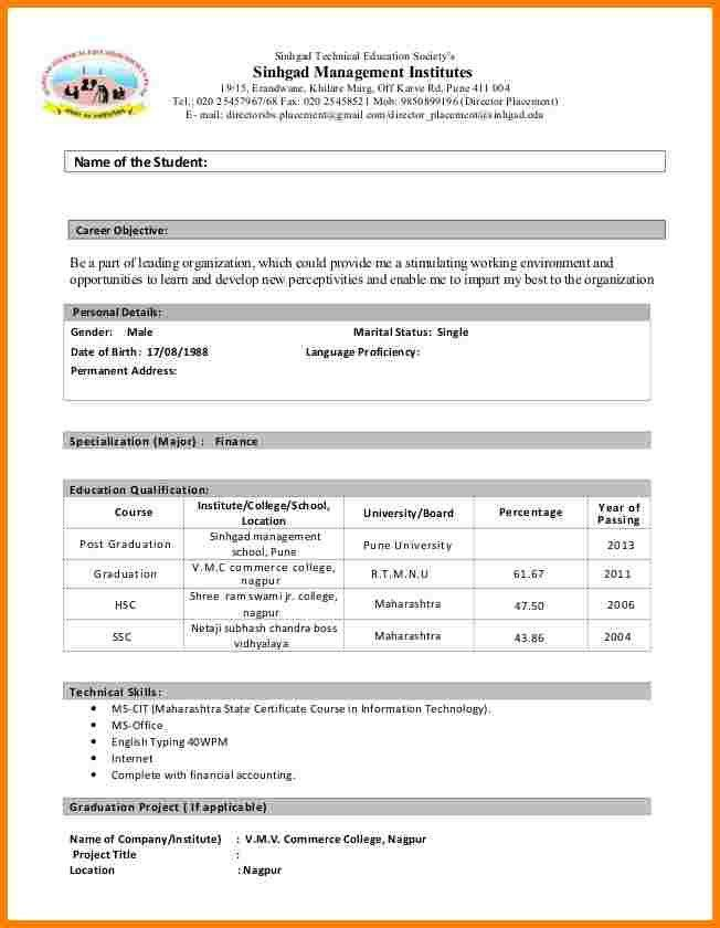 Simple Student Resume Format. Easy Sample Resume Format Pertaining ...