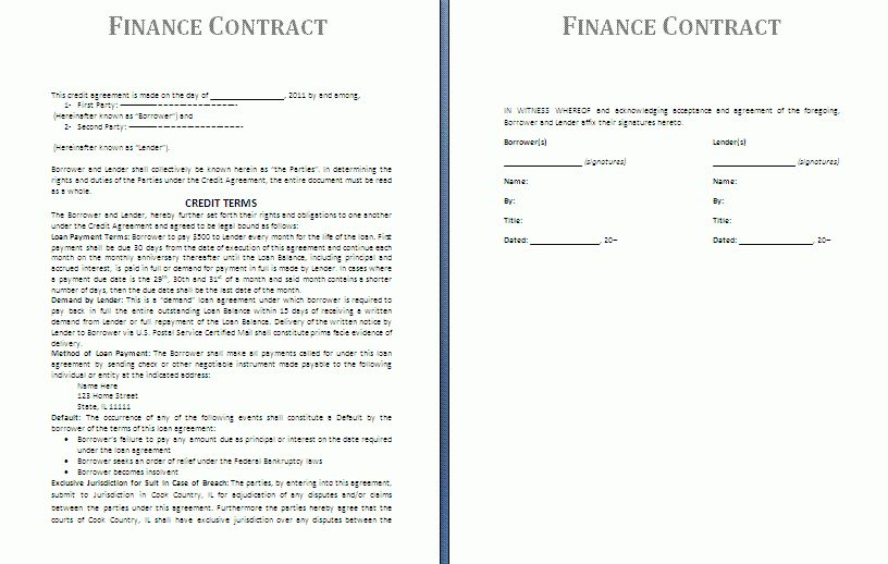 Finance Contract Template | Free Contract Templates