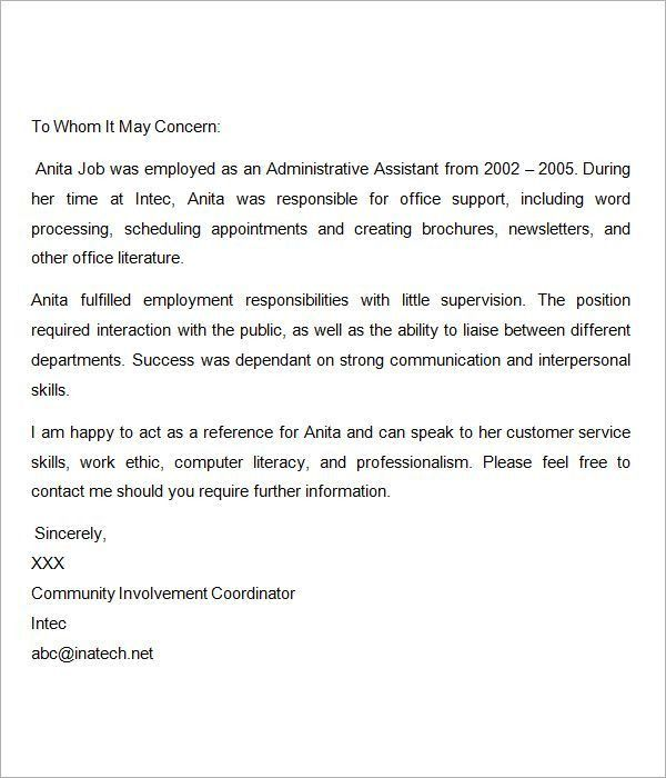 administrative assistant recommendation letter