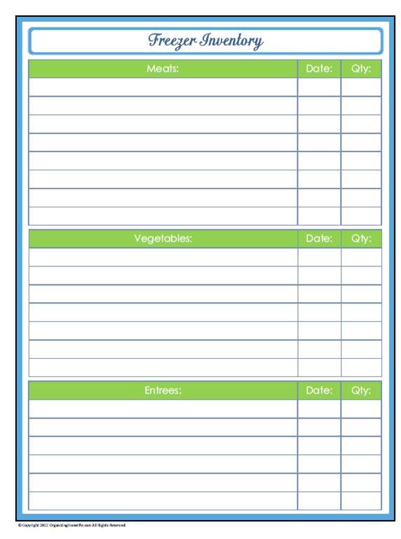31 Days of Home Management Binder Printables: Day #27 Freezer ...