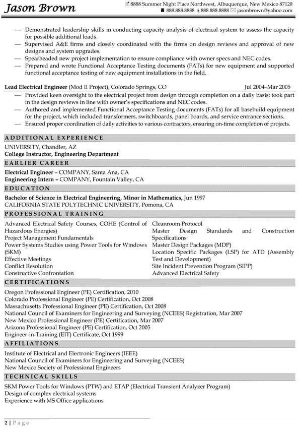 Engineering Resume Examples - Resume Professional Writers