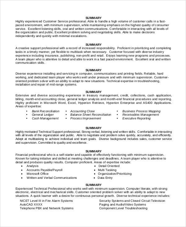 sample resume summary statement 9 examples in word pdf. best ...