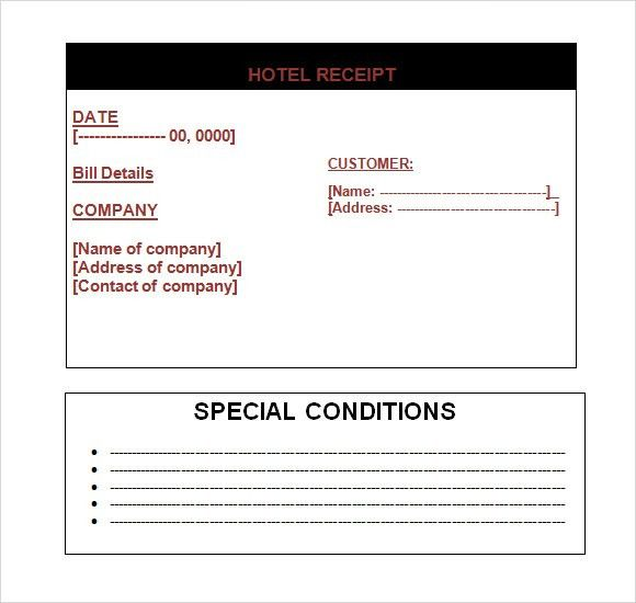 Sample Hotel Receipt Template -9+ Free Download for PDF , Word
