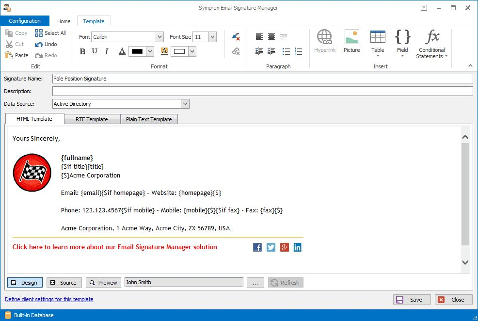 Email Signature Manager - Screenshots