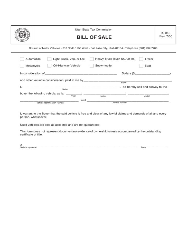 Trailer Bill of Sale Form Sample - Utah Free Download