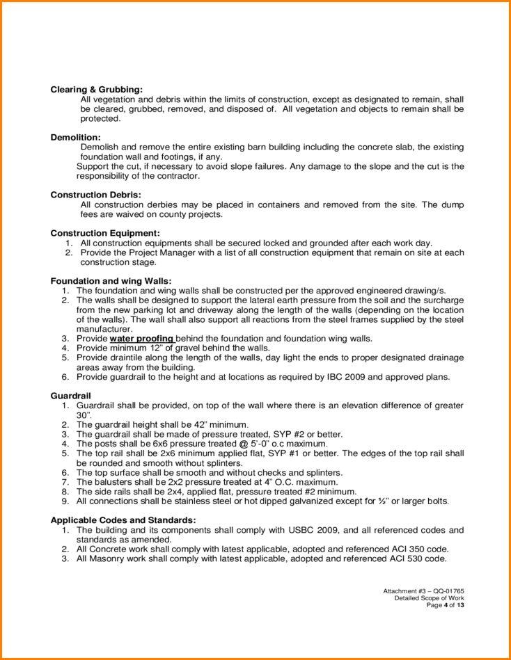 7+ construction scope of work template | wedding spreadsheet