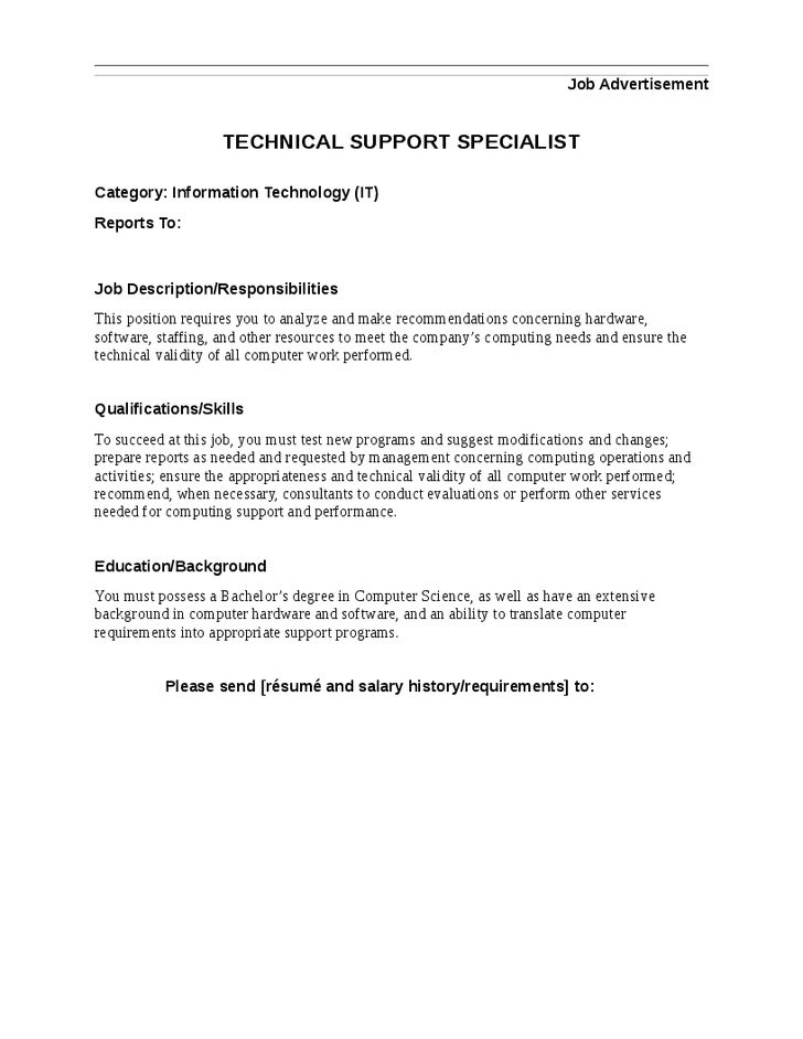 Technical Support Job Description Skills Technical Support Job ...