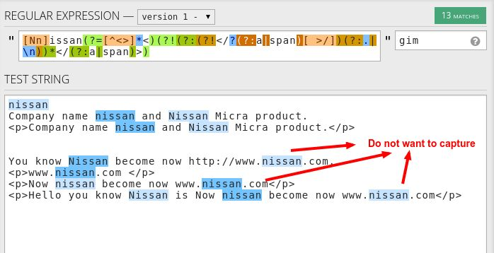 "html - Python regular expression select ""Nissan"" word except ..."