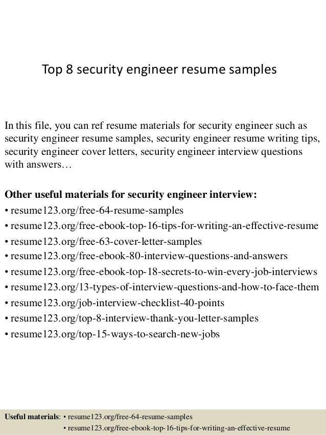 Download Security Engineer Sample Resume   haadyaooverbayresort.com