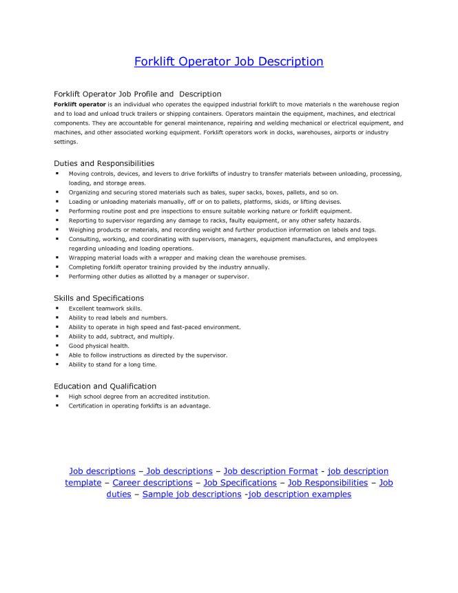 Certified Forklift Operator Job Description - The Best Fork 2017