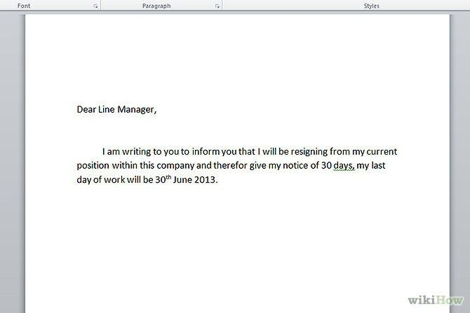 Simple Letter Of Resignation Template Simple Letter Of Resignation ...