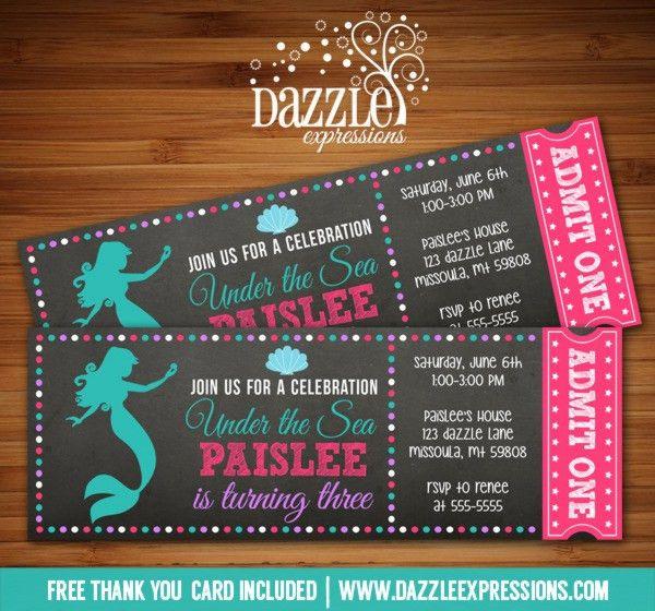 Printable Mermaid Chalkboard Ticket Birthday Invitation - Under ...