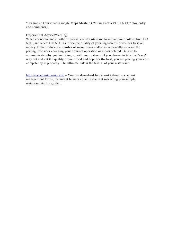 Free restaurant business plan sample