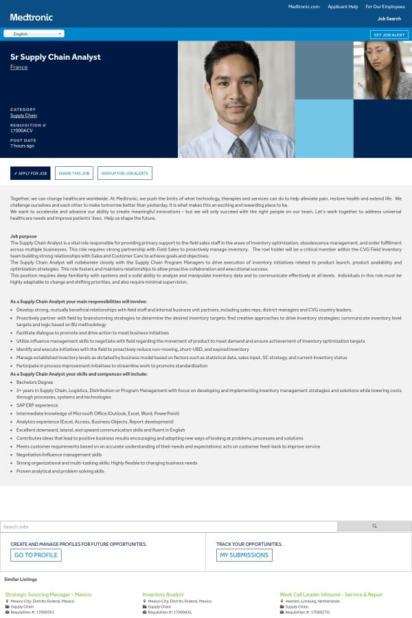 Senior Supply Chain Analyst job at Medtronic in France   Tapwage ...