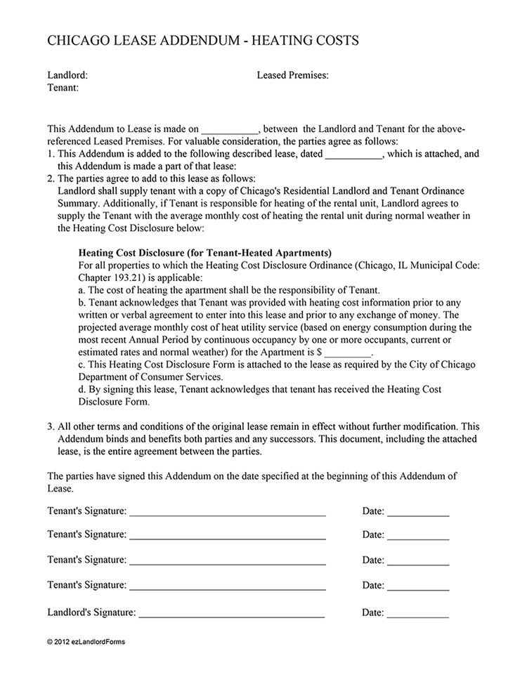 Chicago Lease Addendum - Heating Costs | EZ Landlord Forms