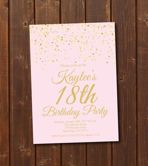 18th Birthday Invitation/Printable Gold & Pink Birthday Invitation ...