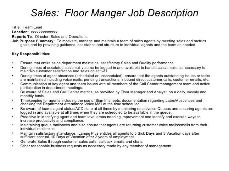 Retail Floor Manager Job Description | Akioz.com
