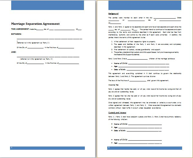 MS Word Marriage Separation Agreement Template | Free Agreement ...