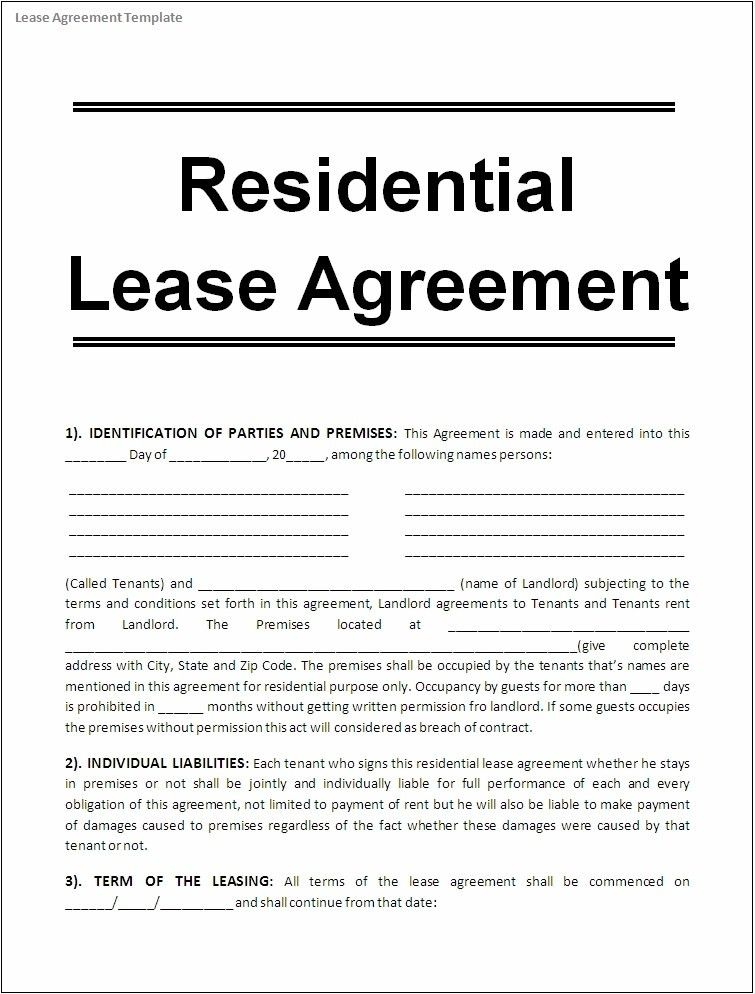 Lease Agreement Template | ebook